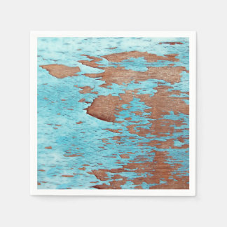 Wood with Peeling Blue Paint Napkin
