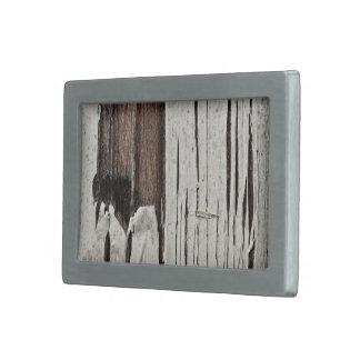 Wood With Peeling Paint Rectangular Belt Buckle