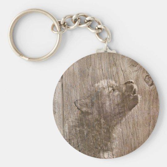 Wood Wolf Pup Art Keychain