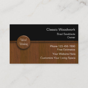 Cabinet business cards templates zazzle wood working business cards reheart Images