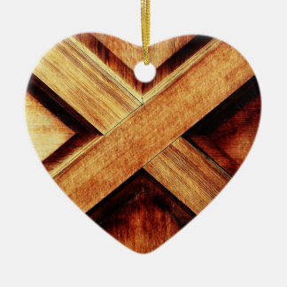 Wood X in Old Shed Wooden Door Ceramic Ornament