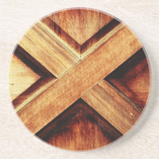 Wood X in Old Shed Wooden Door Coasters