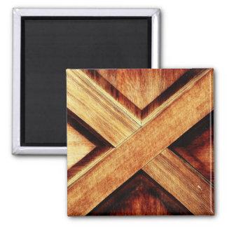 Wood X in Old Shed Wooden Door Magnet