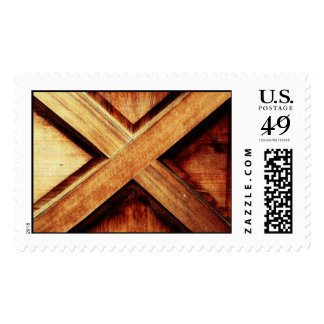 Wood X in Old Shed Wooden Door Postage Stamp