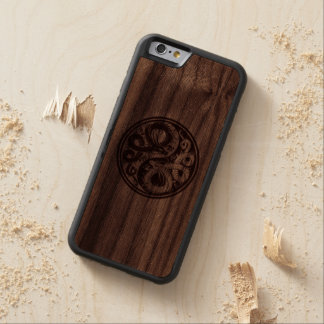 Wood Yin Yang Chinese Dragons Carved Walnut iPhone 6 Bumper Case