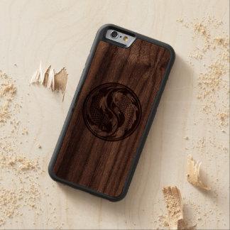 Wood Yin Yang Koi Fish Carved Walnut iPhone 6 Bumper Case