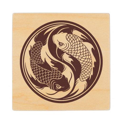 Wood Yin Yang Koi Fish Maple Wood Coaster