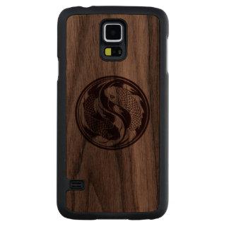 Wood Yin Yang Koi Fish Carved® Walnut Galaxy S5 Slim Case