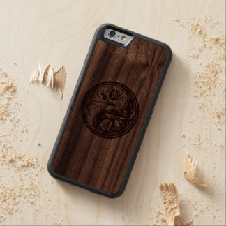 Wood Yin Yang Roses Carved Walnut iPhone 6 Bumper Case