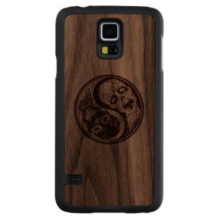 Wood Yin Yang Zombies Carved Walnut Galaxy S5 Slim Case