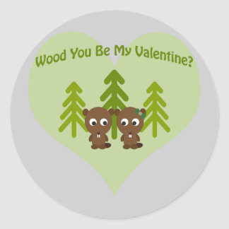 Wood You Be My Valentine Classic Round Sticker
