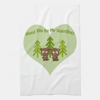 Wood You Be My Valentine Kitchen Towels