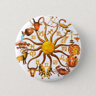 Wood Zodiac wheel of life Pinback Button