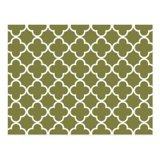 Woodbine Green White Quatrefoil Moroccan Pattern Postcard