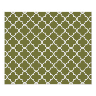 Woodbine Green White Quatrefoil Moroccan Pattern Poster
