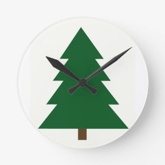 Woodblock Christmas Tree Wallclock