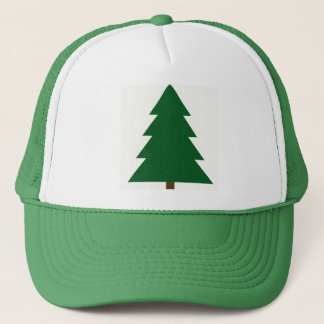 Woodblock Christmas Tree Trucker Hat