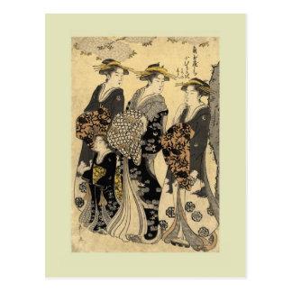 Woodblock del japonés del vintage postal