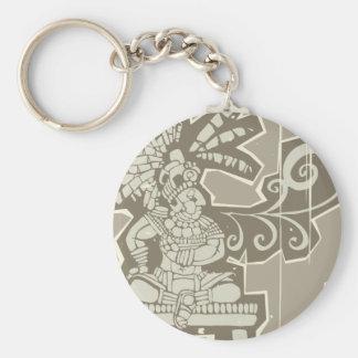 Woodblock Mayan King A Keychain