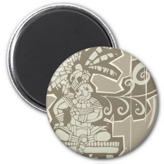 Woodblock Mayan King A 2 Inch Round Magnet