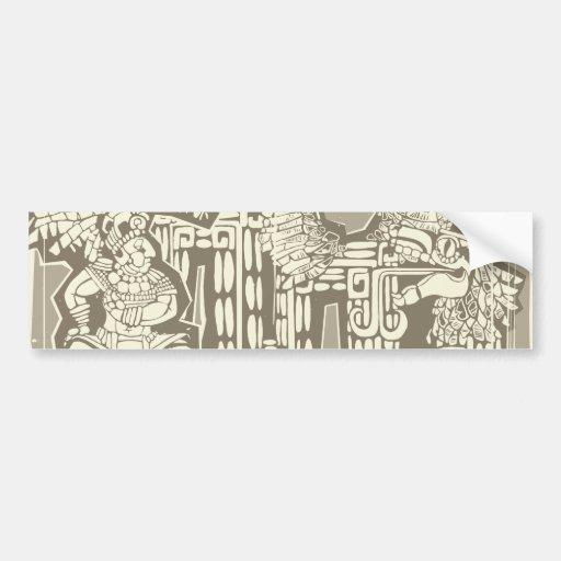 Woodblock Mayan King B Car Bumper Sticker