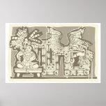 Woodblock Mayan King B Posters