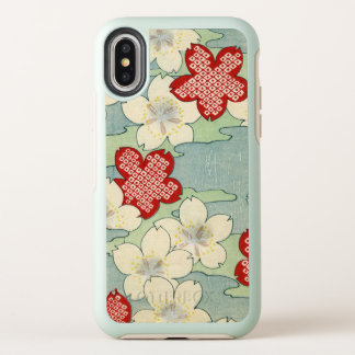 Woodblock Print of Dogwood Blossoms OtterBox Symmetry iPhone X Case