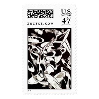 Woodblock print of KOI Black & White Postage