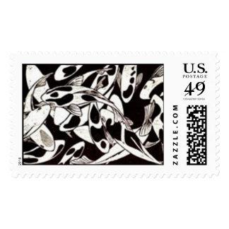 Woodblock print of KOI Stamps