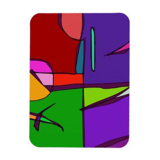 Woodblock Print Simulation Rectangular Photo Magnet