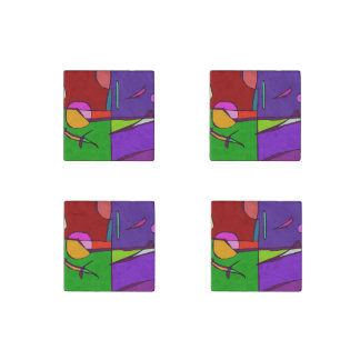Woodblock Print Simulation Stone Magnet
