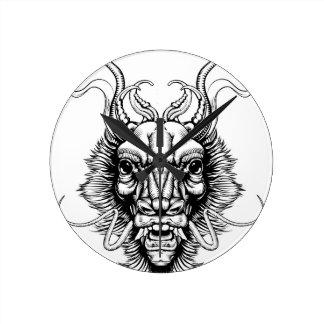 Woodblock style dragon head wall clocks