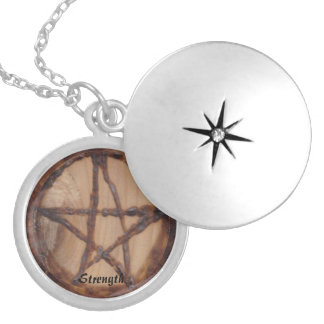 Woodburned Pentacle Primitive Witch Wiccan Pagan Silver Plated Necklace