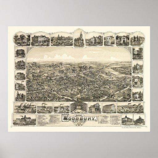 Woodbury, mapa panorámico de NJ - 1886 Poster