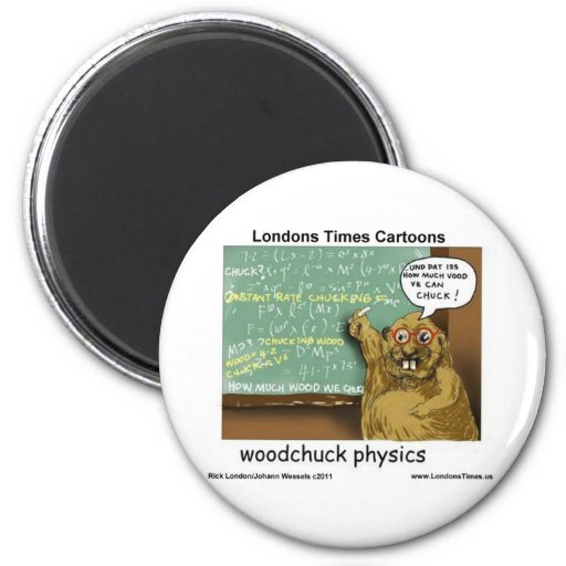 Woodchuck Physics Funny Gifts Tees Mugs & Cards 2 Inch Round Magnet