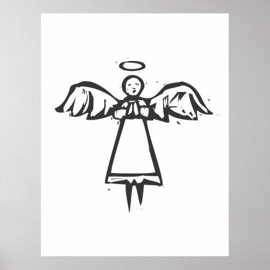 Woodcut Angel Poster