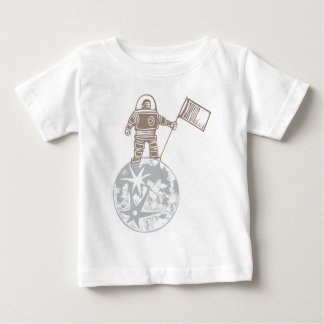 Woodcut Astronaut with Flag Baby T-Shirt