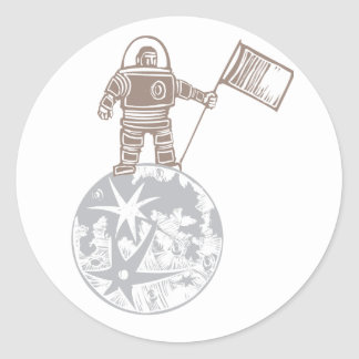 Woodcut Astronaut with Flag Classic Round Sticker