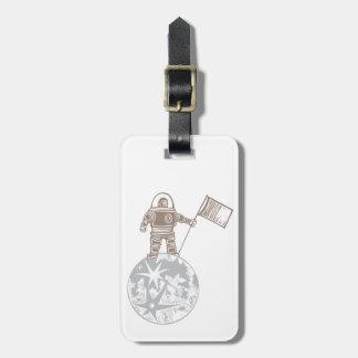Woodcut Astronaut with Flag Bag Tag