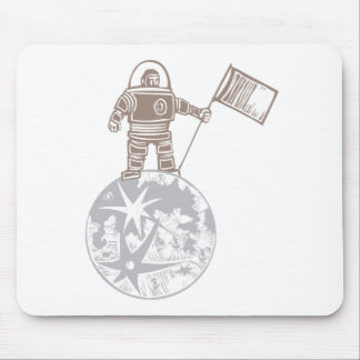Woodcut Astronaut with Flag Mouse Pad