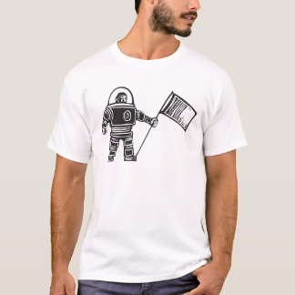 Woodcut Astronaut with Flag T-Shirt