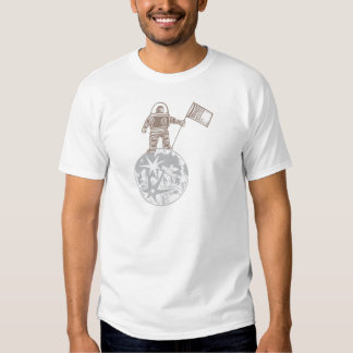 Woodcut Astronaut with Flag T Shirt