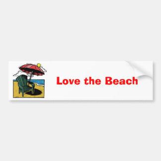 Woodcut Beach Scene with Chair & Umbrella Bumper Sticker