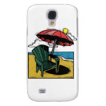 Woodcut Beach Scene with Chair & Umbrella Galaxy S4 Case