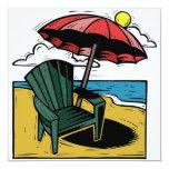 """Woodcut Beach Scene with Chair & Umbrella 5.25"""" Square Invitation Card"""