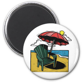 Woodcut Beach Scene with Chair & Umbrella 2 Inch Round Magnet