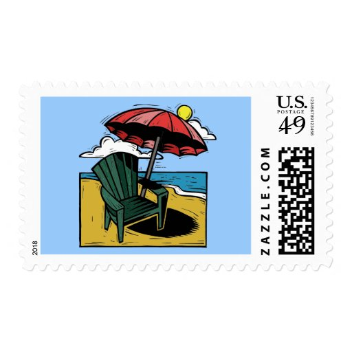 Woodcut Beach Scene with Chair & Umbrella Stamps