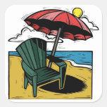 Woodcut Beach Scene with Chair & Umbrella Square Sticker