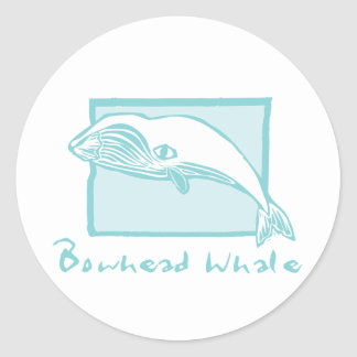 Woodcut Bowhead Whale Classic Round Sticker