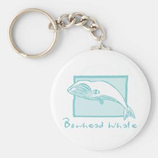Woodcut Bowhead Whale Keychain
